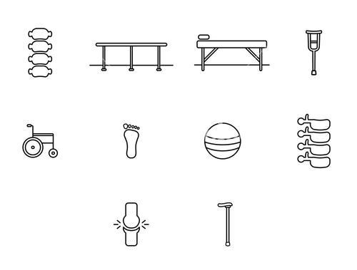 Vector icon set of hospital
