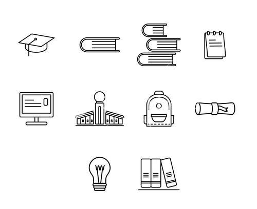 Vector icon set for education