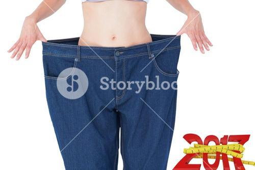 Composite image of woman wearing too large pants