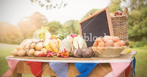 Vegetables and food on table with slate