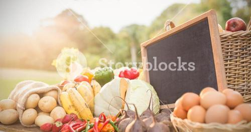 Vegetables and food with slate on table