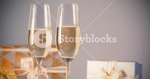 Champagne flutes with gift boxes
