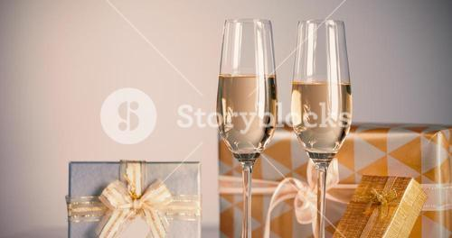 Gift boxes with champagne flutes