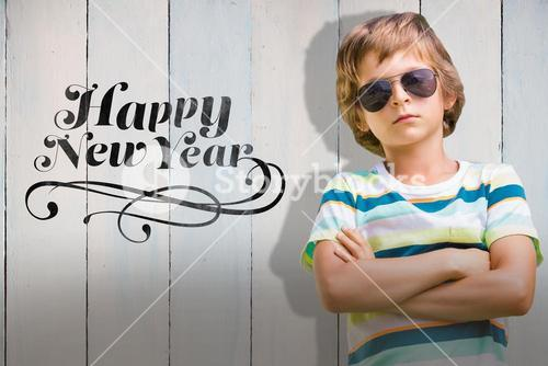 Composite image of child with sun glasses
