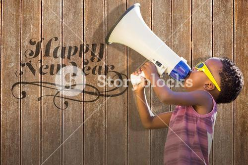 Composite image of child with megaphone