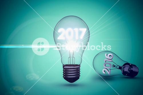 Composite image of light bulbs over white background