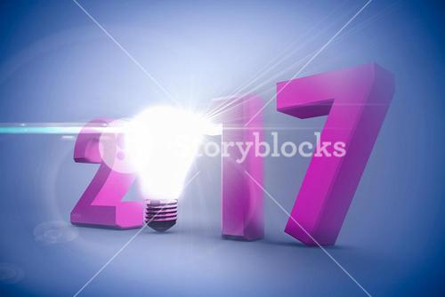Composite image of 2017 with glowing light bulb over white background