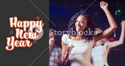 Composite image of portrait of woman holding champagne flute while dancing