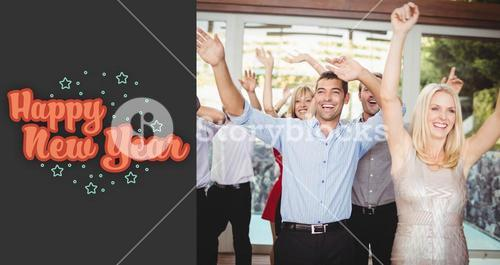 Composite image of cheerful young friends dancing
