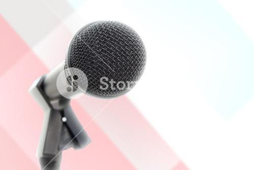 Composite image of microphone with stand