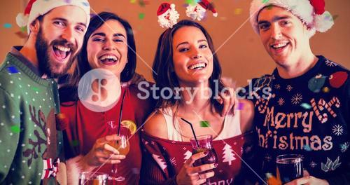 Composite image of portrait of festive friends in bar