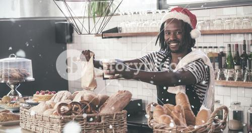 Composite image of smiling hipster employee serving take away products