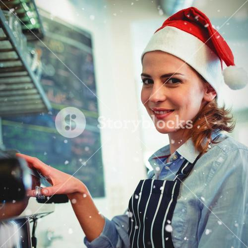 Composite image of portrait of waitress using coffee maker at cafeteria during christmas