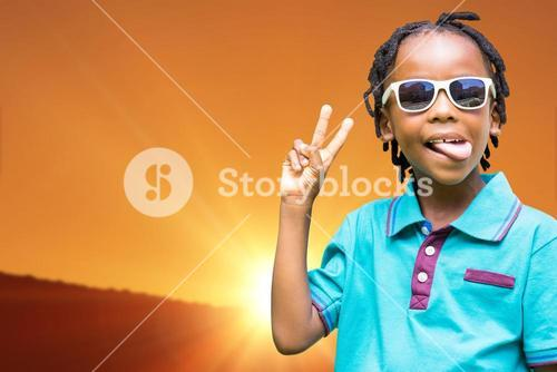 Composite image of child making wince