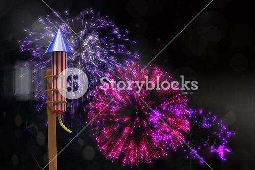 Composite image of rocket for fireworks
