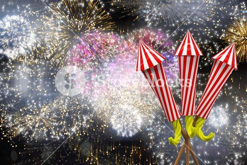 Composite image of rockets for fireworks