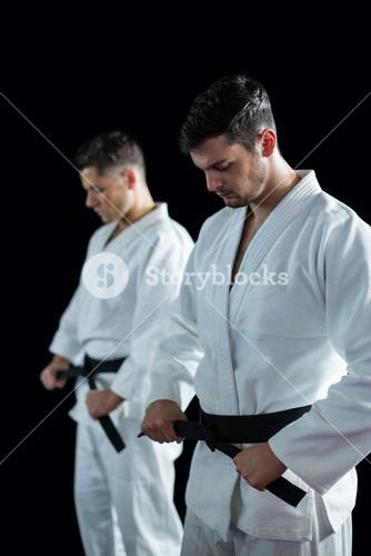 Two karate fighters performing karate stance