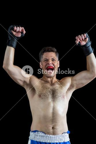 Boxer posing after victory