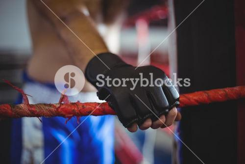 Boxer holding a rope