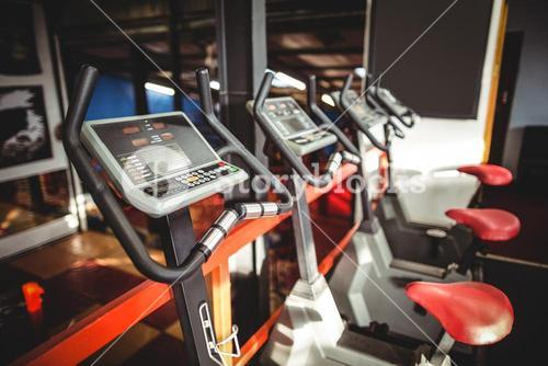 Exercise bicycles in fitness studio