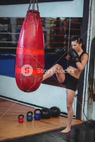 Female boxer practicing boxing with punching bag