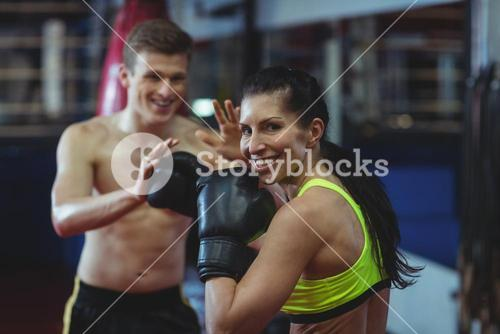 Boxers practicing a boxing