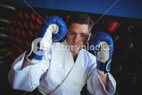 Kick boxer wearing gloves