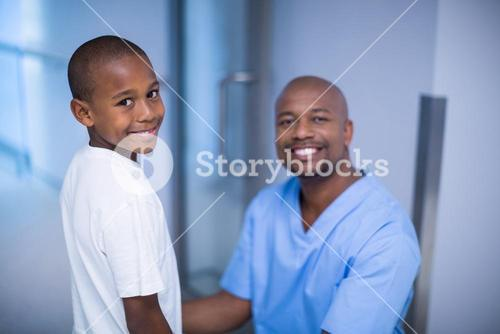 Portrait of smiling doctor and patient