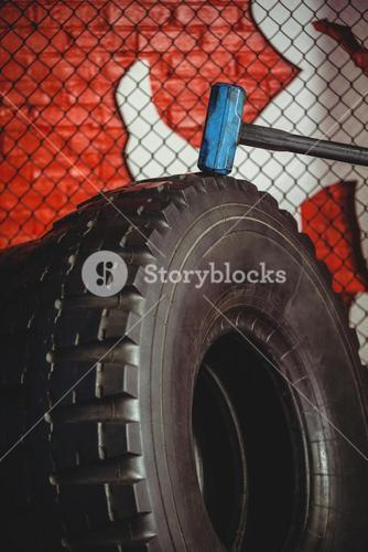Close-up of sledgehammer tire
