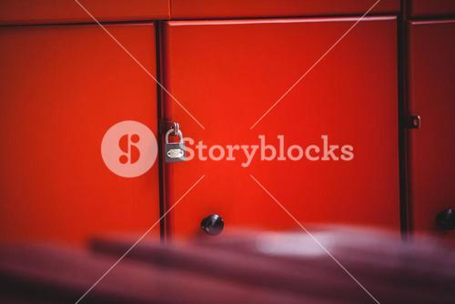 Close-up of red lockers
