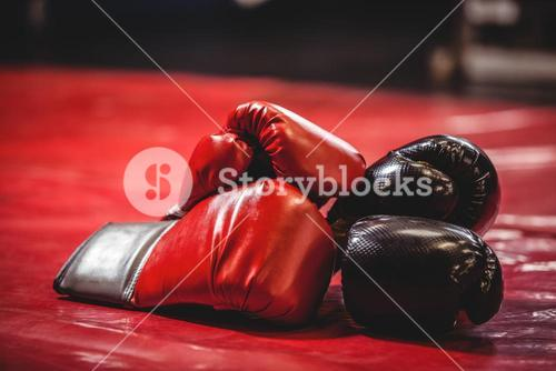 Pair of black and red boxing gloves