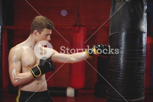 Boxer punching a boxing bag