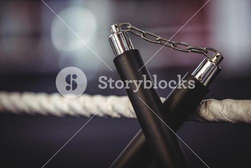Nunchaku on a boxing ring