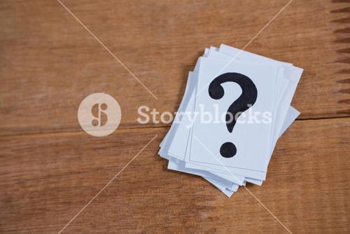 Stack of cards with a question mark