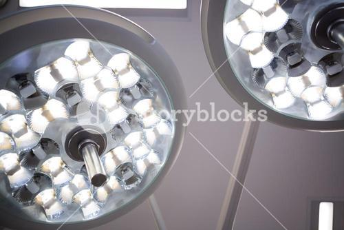 Close-up of surgical lights in operation theater