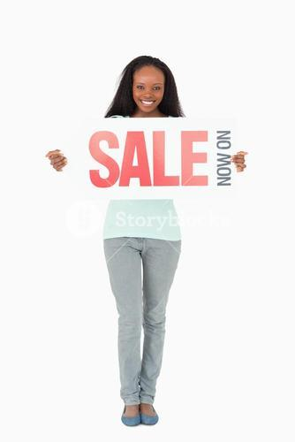 Woman with ad on white background