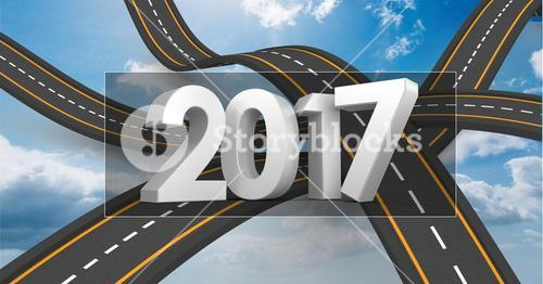 2017 on composite image 3D of over lapping roads