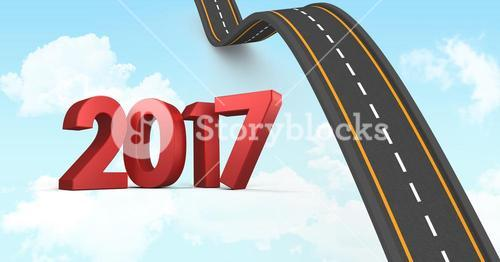 2017 on composite image 3D of bumpy road leading towards sky