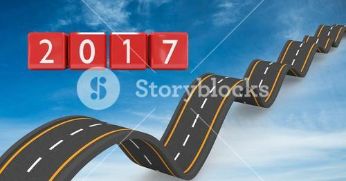 2017 on composite image 3D of bumpy roads