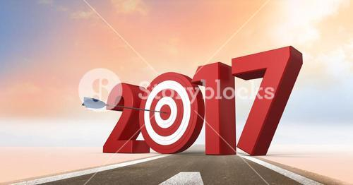 Darts target as 2017 on composite image 3D of road