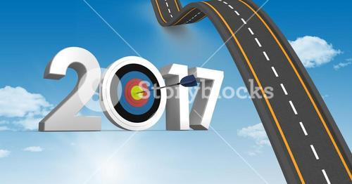 Darts target as 2017 against composite image 3D of bumpy road in sky
