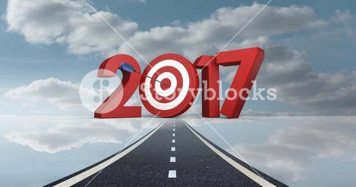Darts target as 2017 against a composite image 3D of road