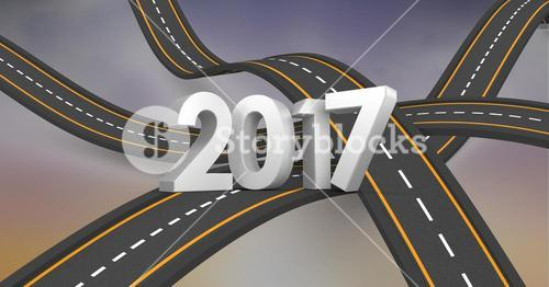 2017 against a composite image 3D of overlapping roads