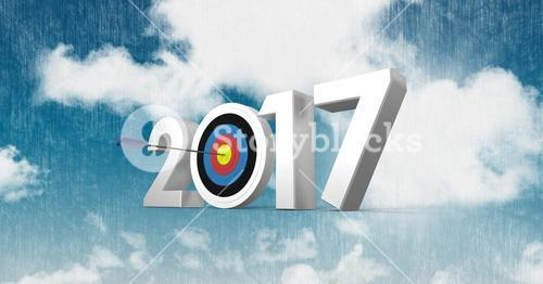 Darts target as 2017 against a composite image 3D of clouds and sky