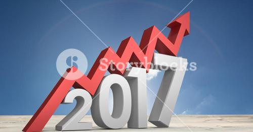 Growth graph as 2017 against a composite image 3D of land and sky