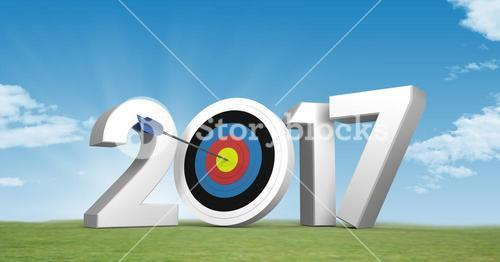 Darts target as 2017 against a composite image 3D of grassland and sky