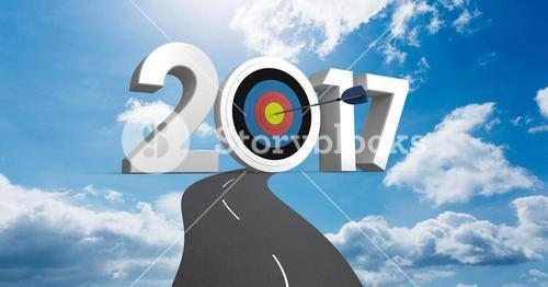 Darts target as 2017 against a composite image 3D of road leading towards sky
