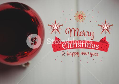 Merry christmas and happy new year message against red christmas bauble