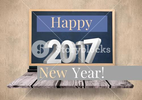 Digitally composite image 3D of 2017 new year on blackboard