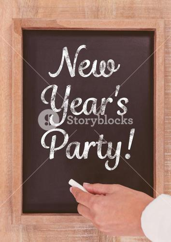 New year party text on blackboard